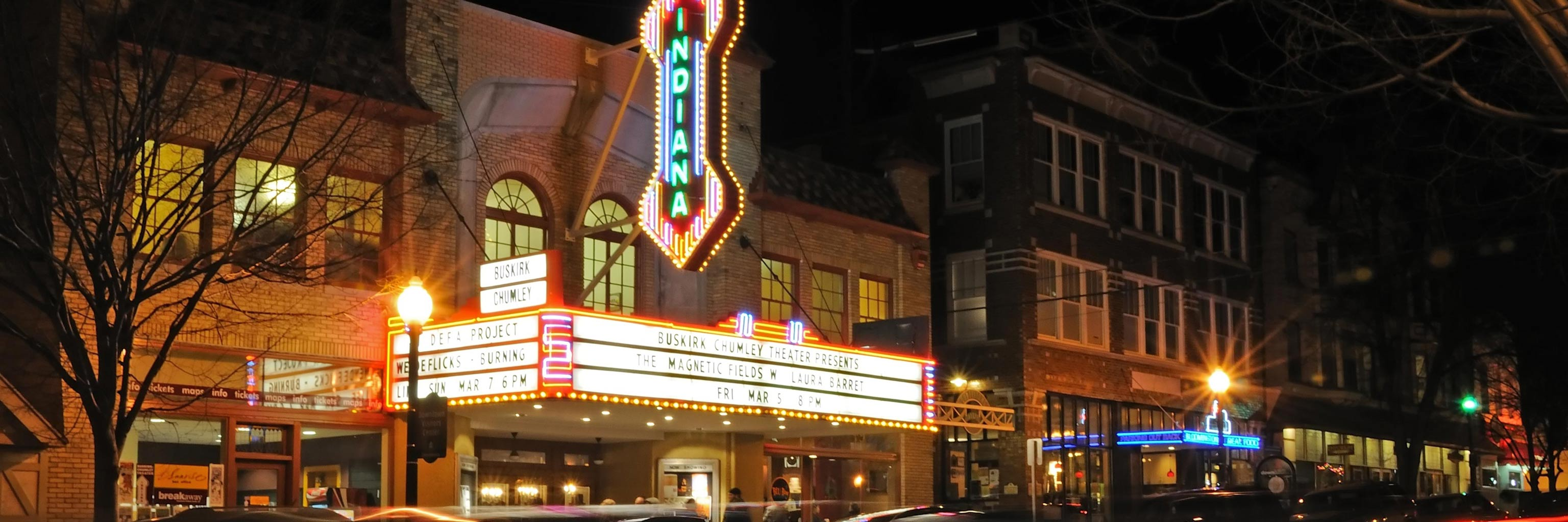 Indiana Theatre building with neon lights