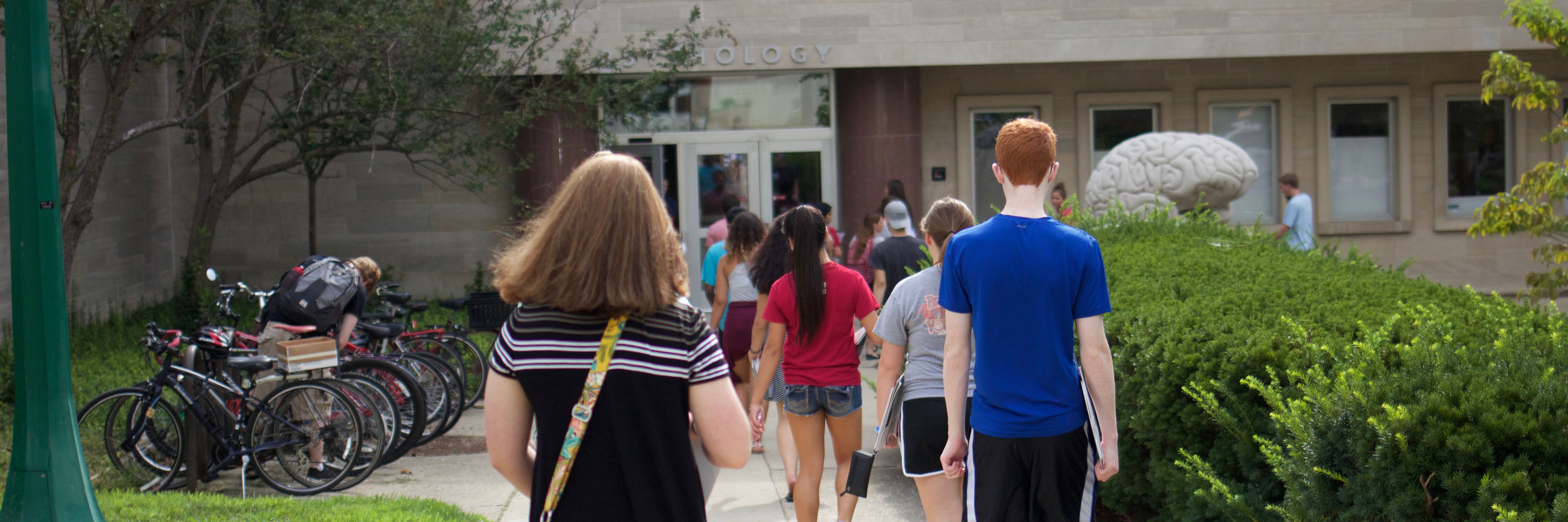 students in two lines walking into a building